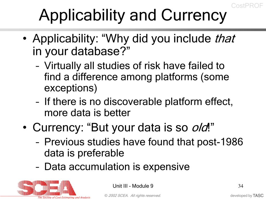 Applicability and Currency