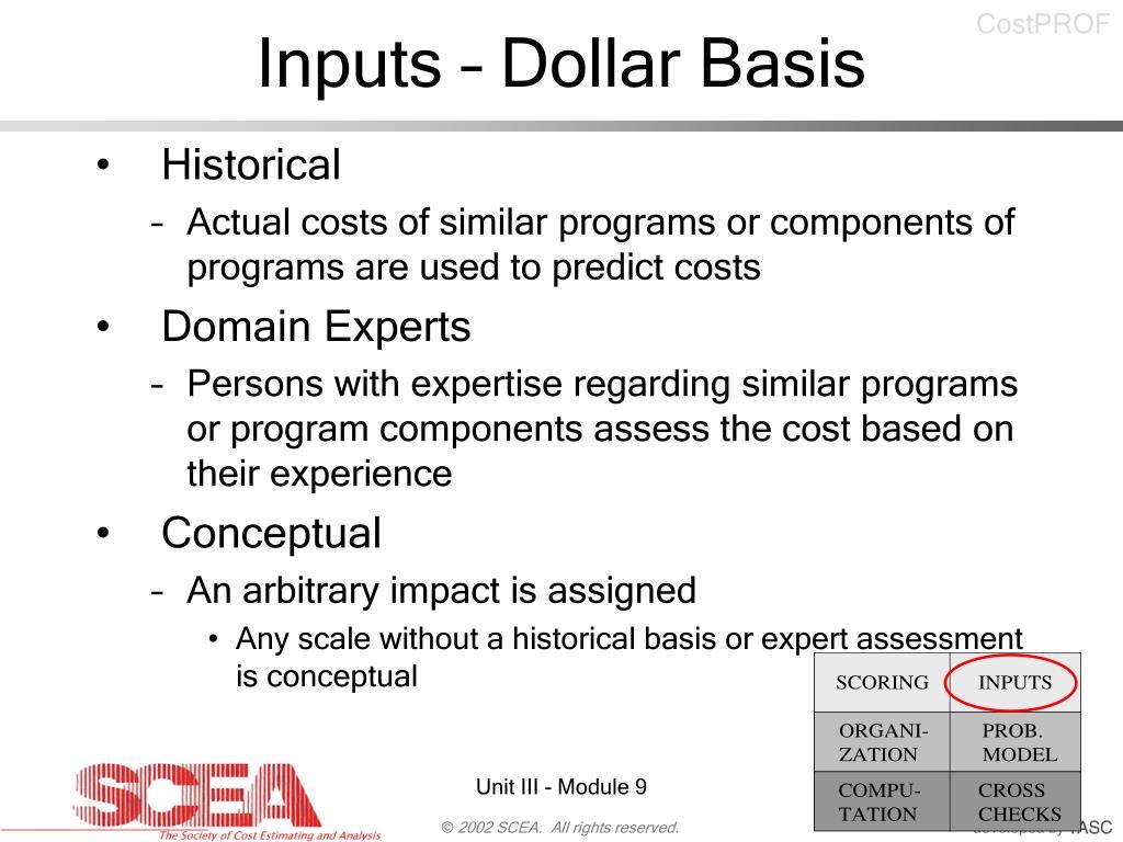 Inputs – Dollar Basis