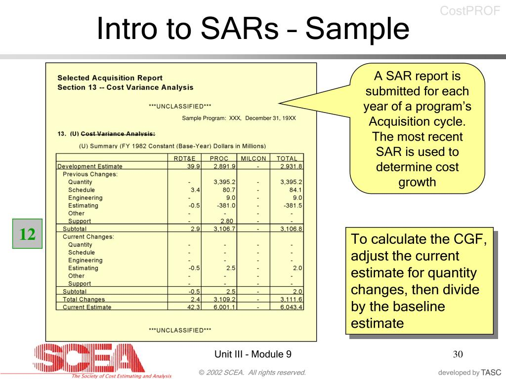 Intro to SARs – Sample