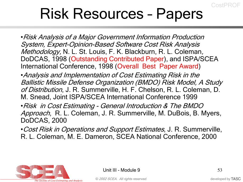 Risk Resources – Papers
