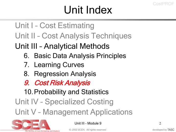 Unit index