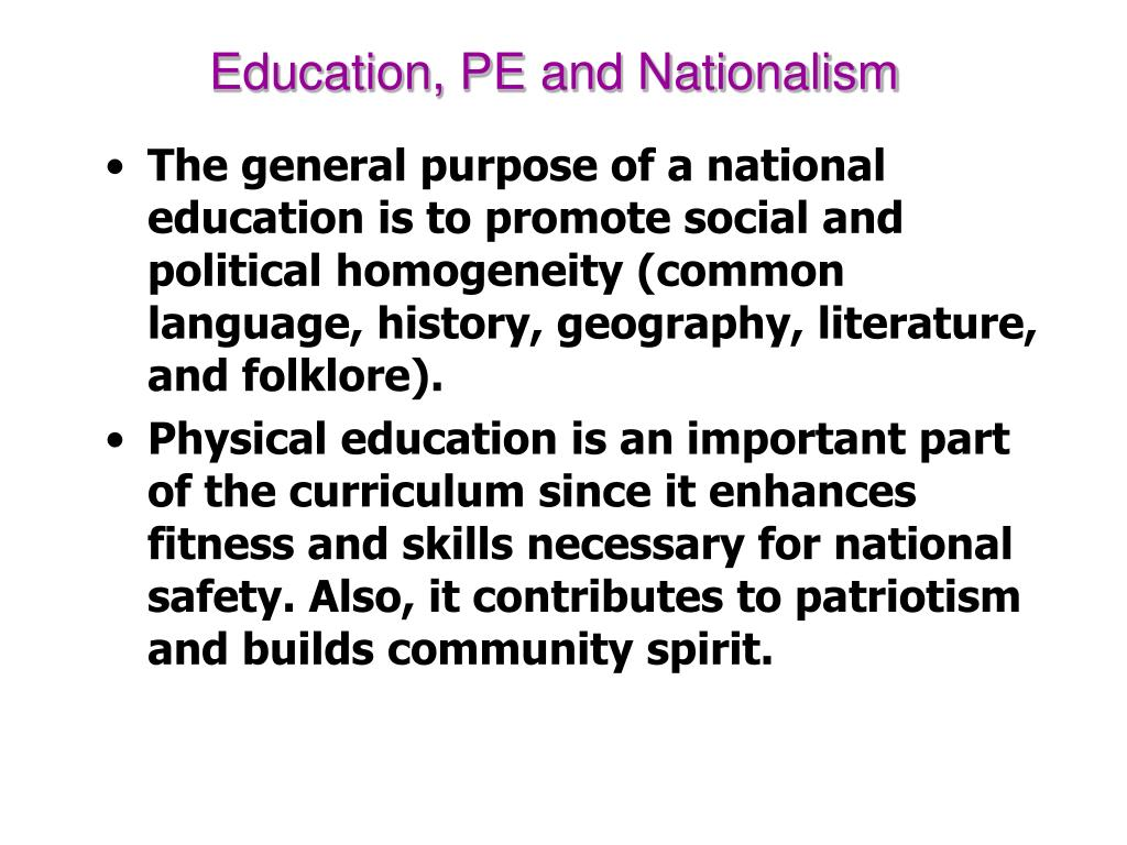 Education, PE and Nationalism
