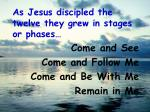as jesus discipled the twelve they grew in stages or phases