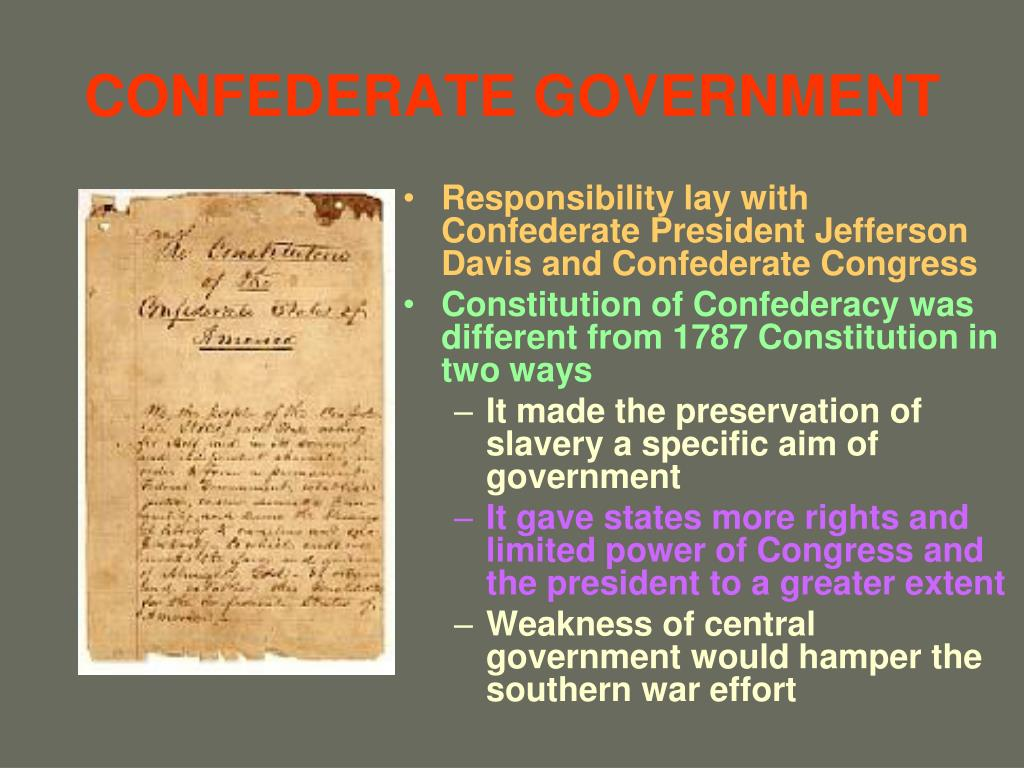 CONFEDERATE GOVERNMENT