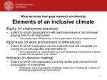 what we know from past research on diversity elements of an inclusive climate