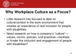 why workplace culture as a focus