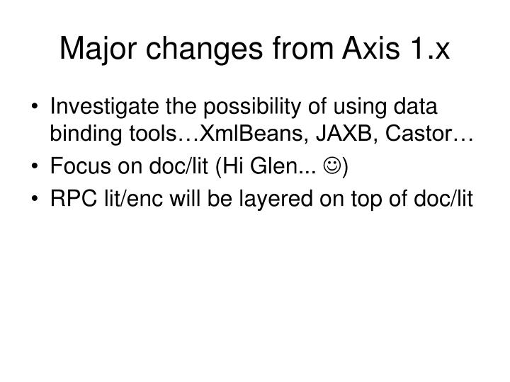 Major changes from axis 1 x