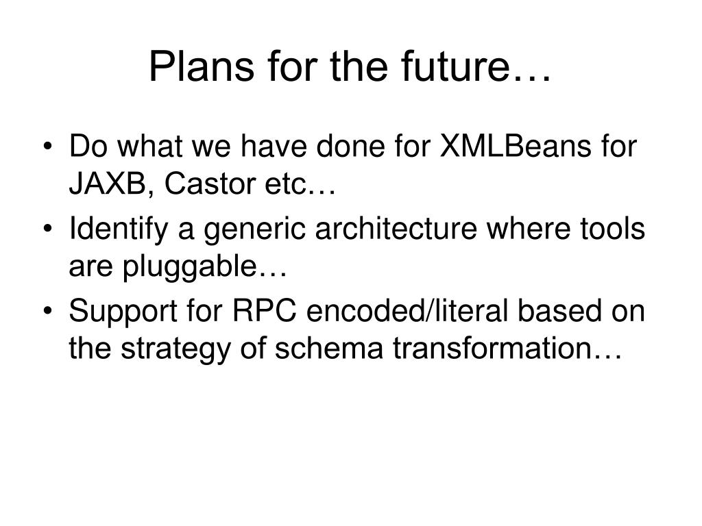 Plans for the future…