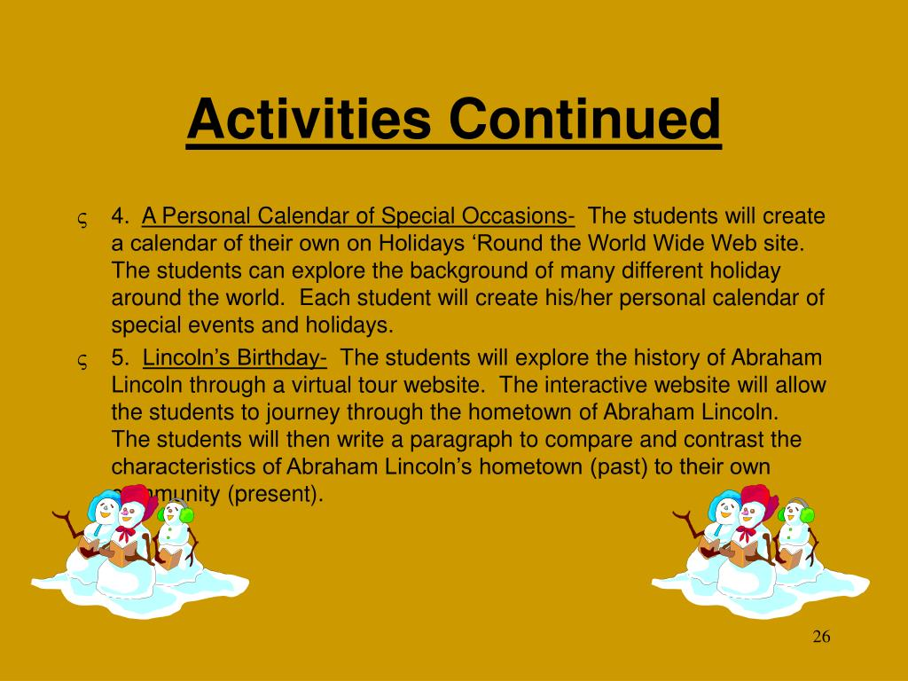 Activities Continued
