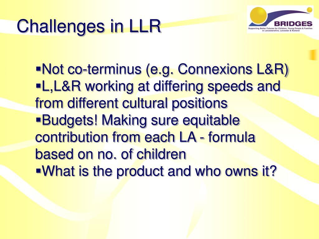Challenges in LLR