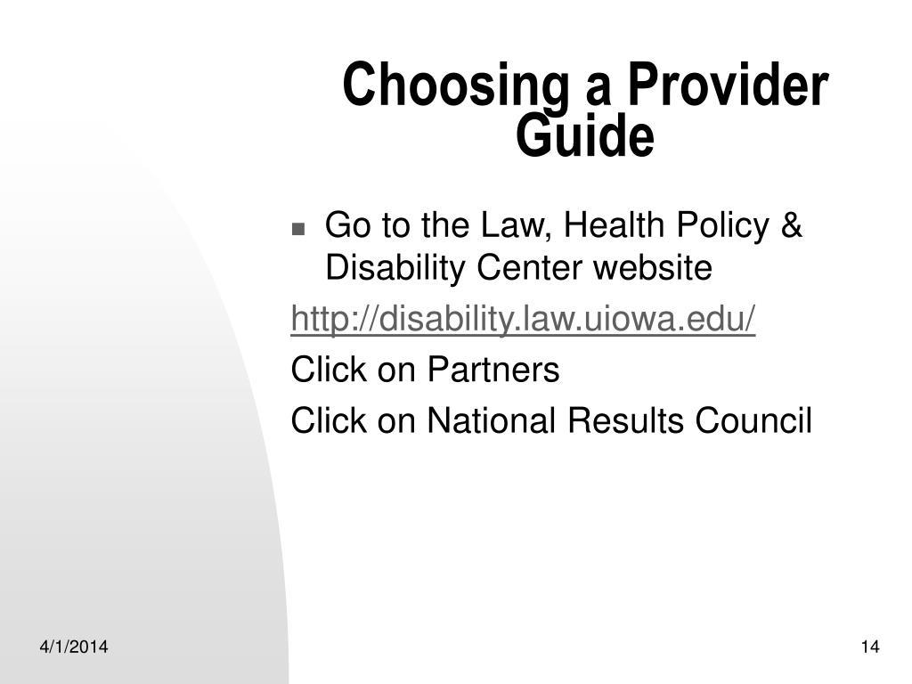 Choosing a Provider Guide