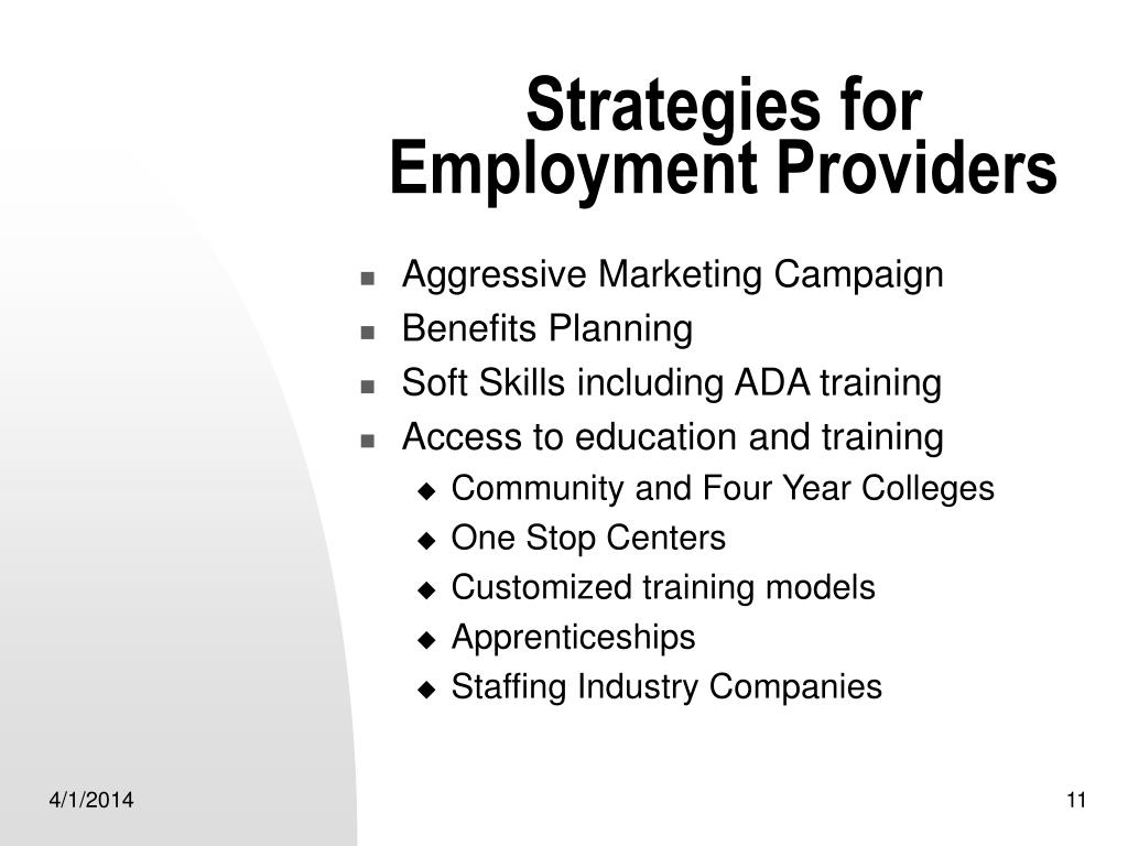 Strategies for Employment Providers