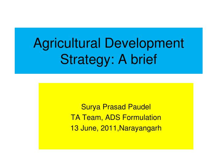 Agricultural development strategy a brief