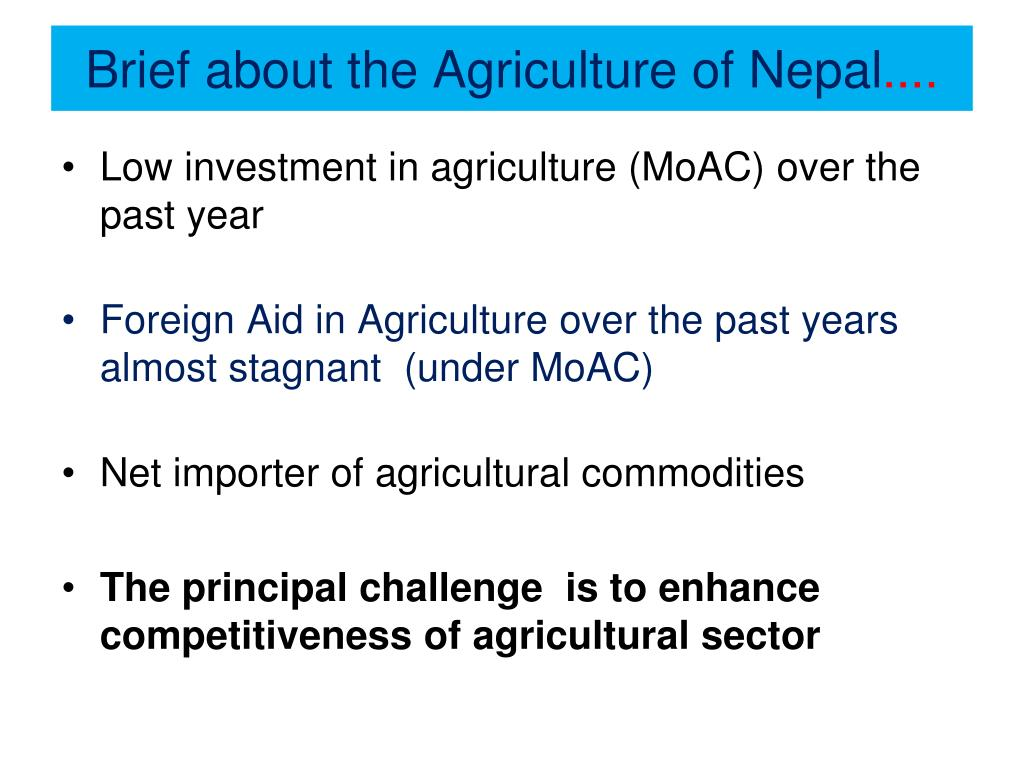 Brief about the Agriculture of Nepal