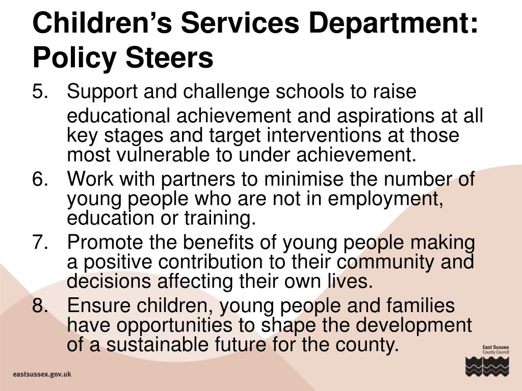 Children's Services Department: Policy Steers