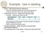 example use in retailing