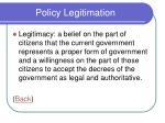 policy legitimation