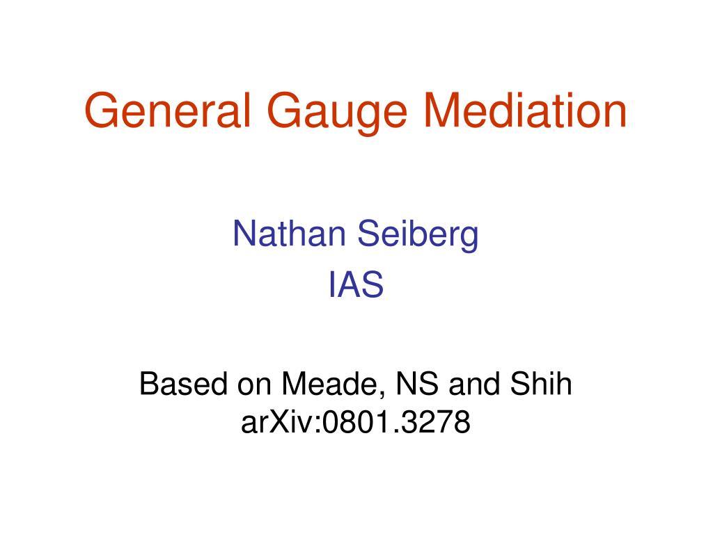 general gauge mediation