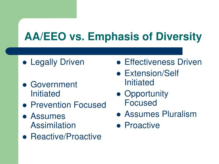 Aa eeo vs emphasis of diversity