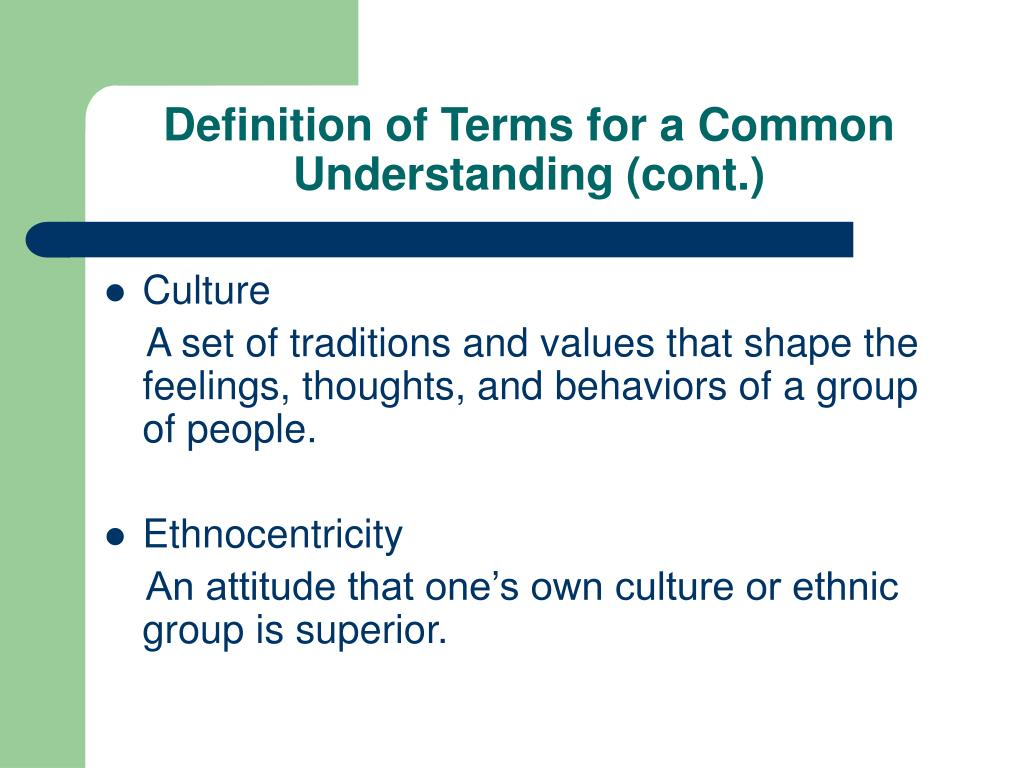 Definition of Terms for a Common Understanding (cont.)