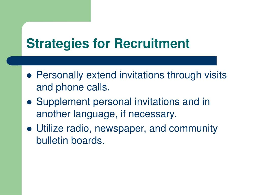 Strategies for Recruitment