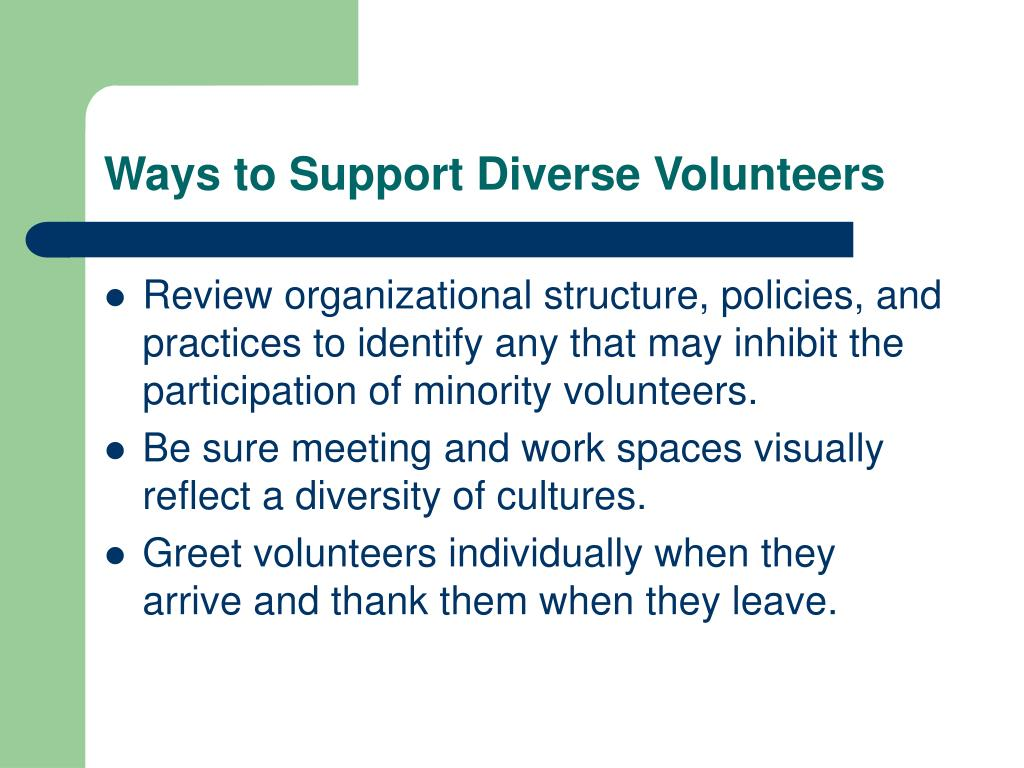 Ways to Support Diverse Volunteers