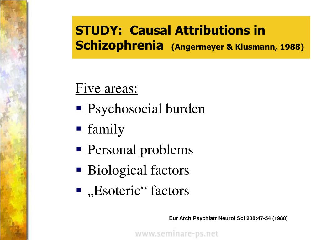 STUDY:  Causal Attributions in Schizophrenia
