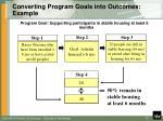 converting program goals into outcomes example