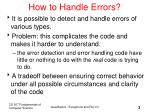 how to handle errors