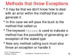 methods that throw exceptions