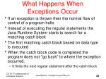 what happens when exceptions occur