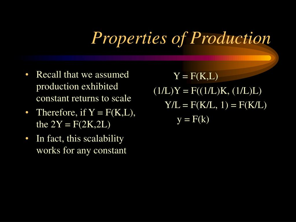 Recall that we assumed production exhibited constant returns to scale