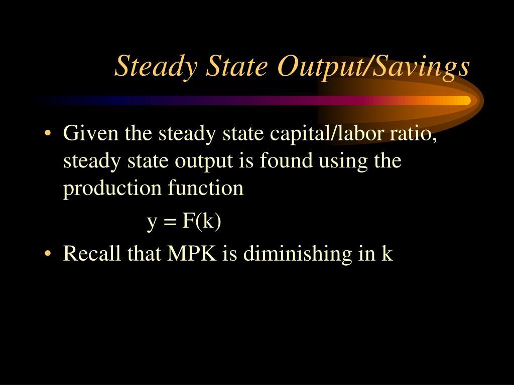Steady State Output/Savings