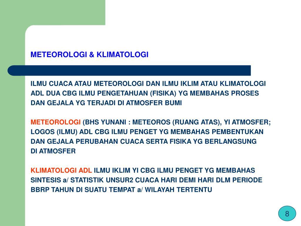 METEOROLOGI & KLIMATOLOGI