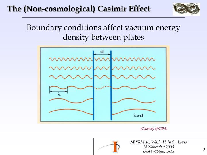The non cosmological casimir effect