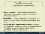 fixed expenses of automobile ownership