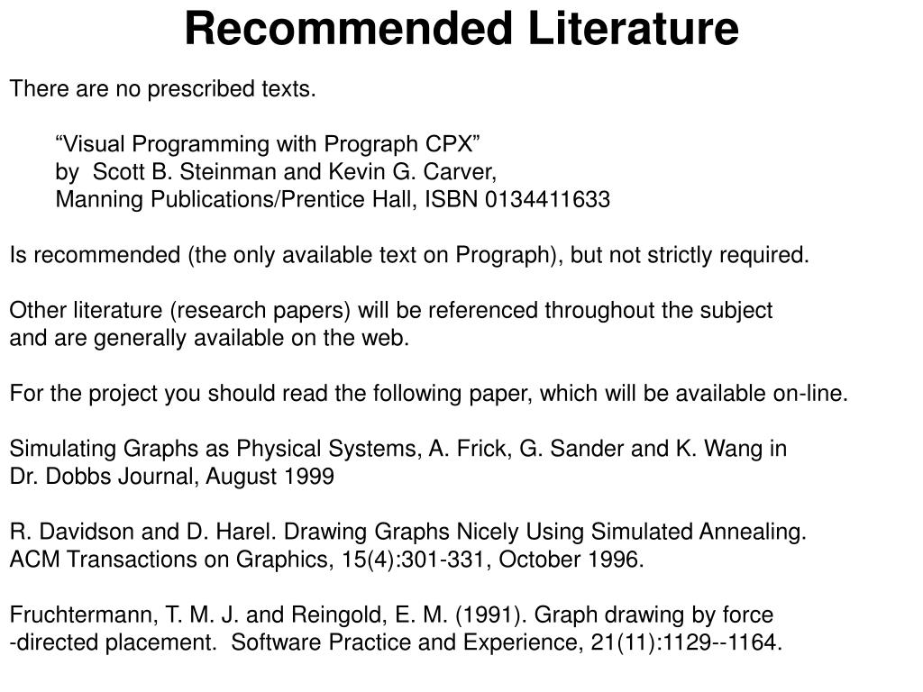 recommended literature l.