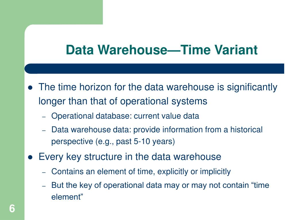 Data Warehouse—Time Variant