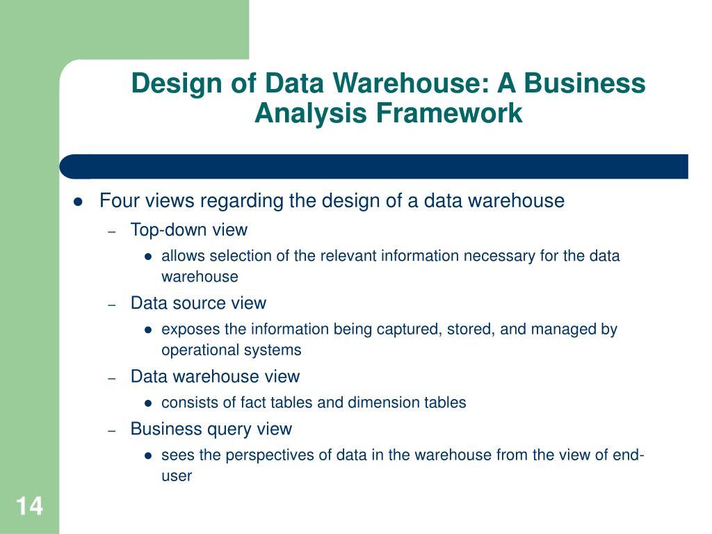 Design of Data Warehouse: A Business Analysis Framework