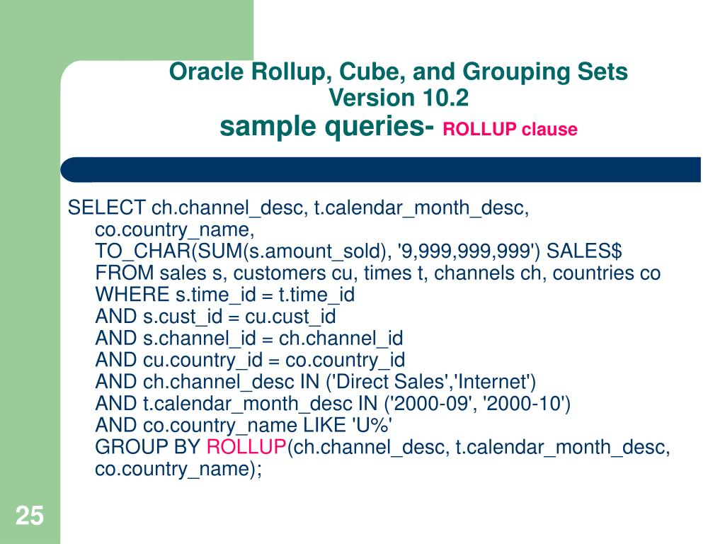 Oracle Rollup, Cube, and Grouping Sets