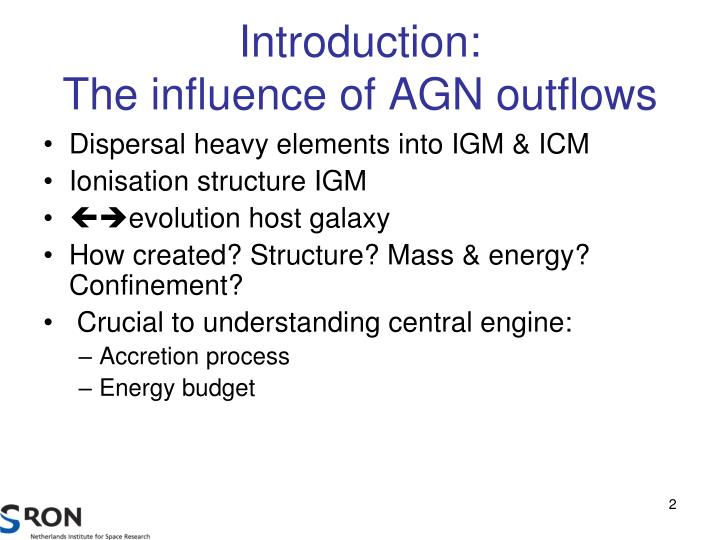 Introduction the influence of agn outflows