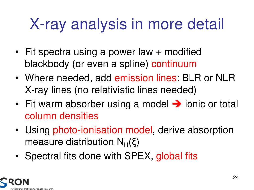 X-ray analysis in more detail