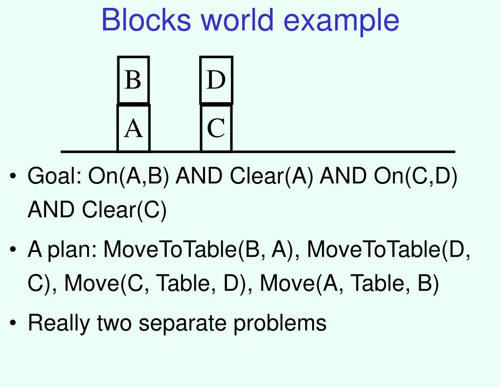 Blocks world example