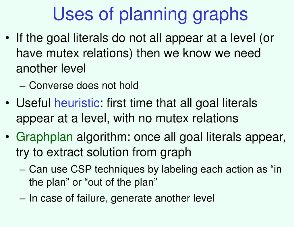 Uses of planning graphs
