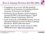 basic language resource kit blark