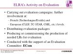 elra s activity on evaluation
