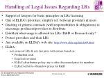 handling of legal issues regarding lrs