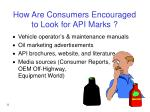 how are consumers encouraged to look for api marks