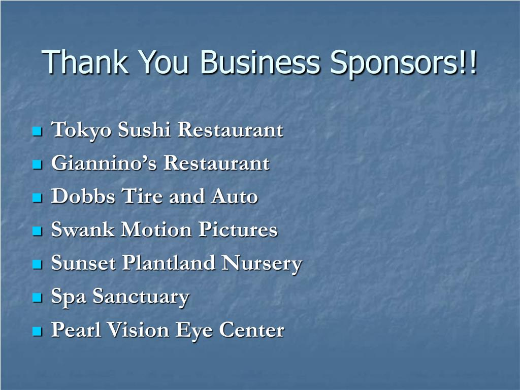 Thank You Business Sponsors!!