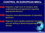 control in european mncs
